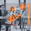 Classmates concentrated on futuristic interface with DNA — Foto Stock