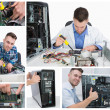 Collage of computer technician at work — Stockfoto
