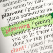 Planning definition highlighted in green - Stock Photo