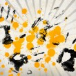 White and grey linear pattern with black hand prints and yellow paint splashes — Stock Photo