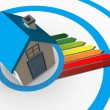 Energy ratings colour chart coming from 3d house - Stock Photo