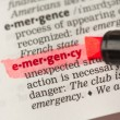Stock Photo: Emergency definition highlighted in red