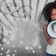 Girl with afro shouting through megaphone with space for text - Foto de Stock