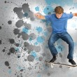 Male skateboarder doing an ollie trick — Stock Photo