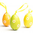 Three foil wrapped easter eggs — Stockfoto