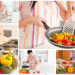 Collage of women cooking — Stock Photo #24146997