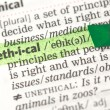 Ethical definition highlighted in green - Stock Photo