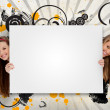 Pretty girls holding blank advertis — Stock Photo #24147065