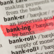 Banking definition highlighted in red — Stock Photo