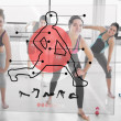 Women doing exercise with futuristic red interface demonstration — Stock Photo