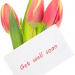 Pink and yellow tulips with get well soon greeting — Stock Photo