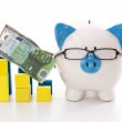 Piggy bank wearing glasses with blue and yellow graph models — Stock Photo