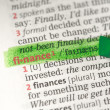 Finance definition highlighted in green - Stock Photo