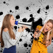 Girl shouting at another through me — Stock Photo
