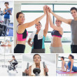 Collage of happy at the gym — Stock Photo