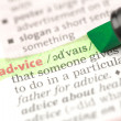 Stock Photo: Advice definition highlighted in green