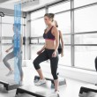Women workout with blue interface showing them how to do — Stock Photo