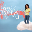 Casual girl connecting with cloud computing — Stock Photo #24147865