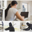 Collage of burglar activity - Stock Photo