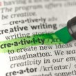 Creativity definition highlighted in green — Stock Photo