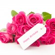 Close up of a beautiful bouquet of pink roses with a happy birth — Stock Photo