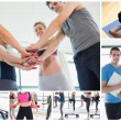 Collage of at the gym — Stock Photo