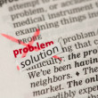 Problem definition word crossed out and replaced with solution - Stock Photo