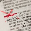 Stock Photo: Problem definition word crossed out and replaced with solution