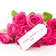 Close up of a beautiful bouquet of pink roses with a happy mothe - Stock Photo