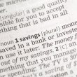 Savings money definition — Stockfoto