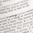 Savings money definition — Foto de Stock