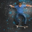 Cool young skateboarder doing ollie trick — Stock Photo #24148413