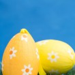 Two easter eggs on grass — Stock Photo