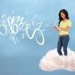 Casual happy girl connecting with cloud computing — Stock Photo #24148487