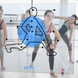 Stock Photo: Women doing exercise with futuristic blue interface demonstratio