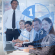Smiling business using blue pie chart interface — Stock Photo #24148499