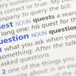 Quest and question definition - Foto Stock