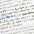 Quest and question definition - Foto de Stock  