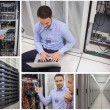 Collage of data center workers — Stock Photo