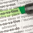Innovation definition highlighted in green — Stock Photo