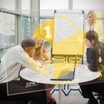 Business using yellow pie chart interface — Stock Photo #24148925