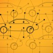 Foto Stock: Picture of cars diagrams on yellow background