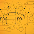 图库照片: Picture of cars diagrams on yellow background