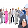Architect standing in front of different types of workers - Stock Photo