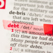 Debt definition highlighted in red — Stock Photo #24149385