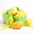 Easter eggs in a basket — Stockfoto