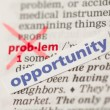 Problem definition word crossed out and replaced with opportunit — Stock Photo #24149427