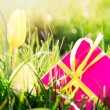 Pink gift box with yellow easter egg and yellow tulip - Stock Photo