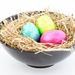 Foil easter eggs in a bowl — Stockfoto