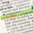 Stock Photo: Highlighted definition of solution